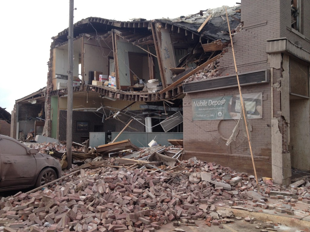 Midwest Bank's Pilger, Neb., branch after the  tornado.