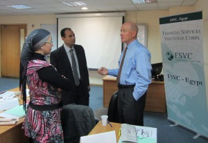 David Streeter of Umpqua Bank chats with local bankers during an FSVC trip to Egypt.