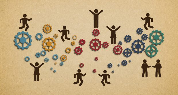 Workforce teamwork within an organization - Concept of a well-oiled machine